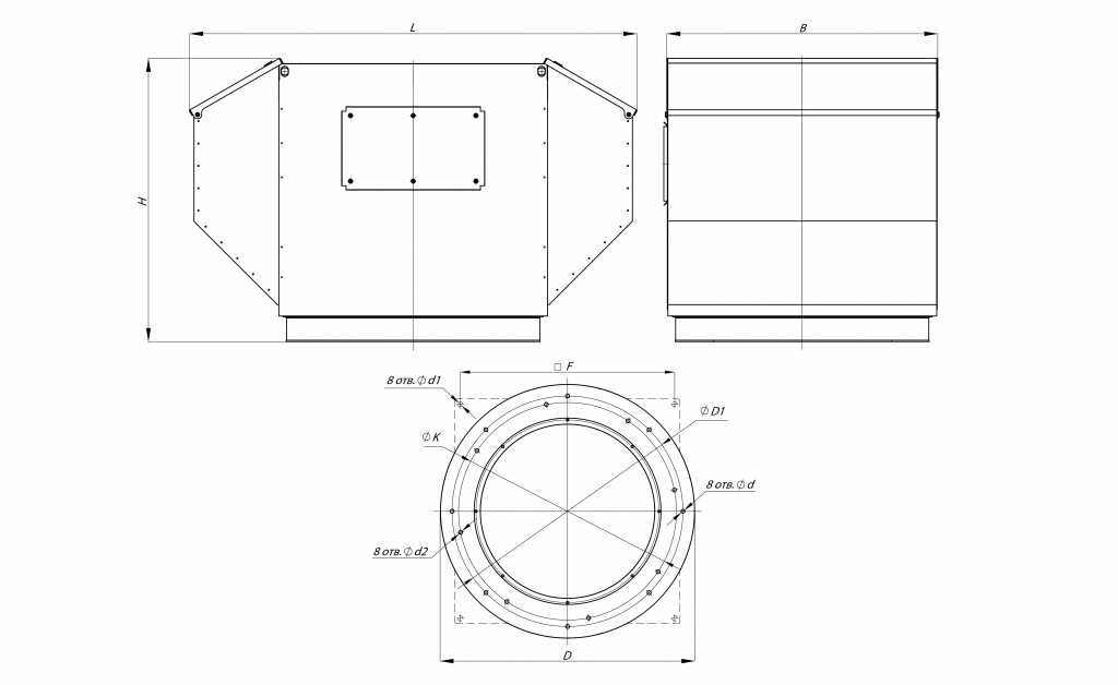 Габаритные и присоединительные размеры крышного вентилятора ВКРФ-10 5,5 кВт 750 об/мин